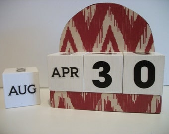 Red Ikat Calendar Perpetual Block Calendar Wood Rusty Red Chevron Ikat Pattern