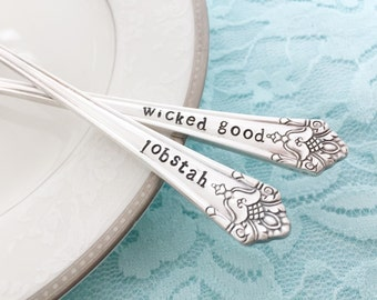 Wicked Good Lobstah: hand stamped vintage seafood appetizer forks- her majesty