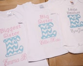 Set of 3 Sibling Shirt Set Biggest Sister Big Sister Little Brother or Any Combination Appliqued Initials in Medium Aqua and White Chevron