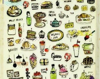 brunch stickers-scrapbooking stickers-embellishment-Planner stickers-erin condren planner - foods stickers-craft sticker-2025- Love My Tapes