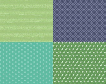Modern Minis Fat Quarter Panel Green by Lori Holt of Bee in My Bonnet for Riley Blake, 1/2 yard