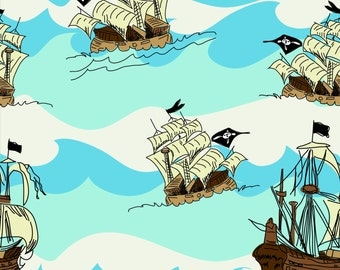 Pirates Blue Ship by Emily Taylor for Riley Blake, 1/2 yard