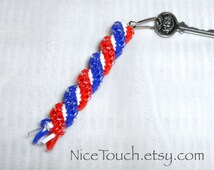 SUMMER SALE!!! Save 20% or get Free Shipping ~ Firecracker red, white, and blue waterproof gimp keychain ~ Made to Order