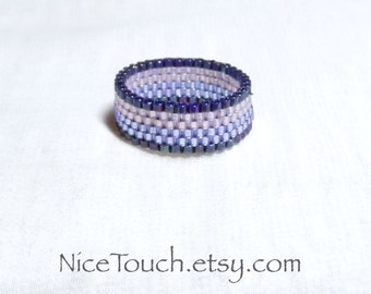 SUMMER SALE!!! Free Shipping or Save 20% ~ Purple Striped peyote novelty band beaded ring ~ Made to Order