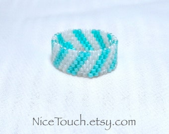 SUMMER SALE!!! Free Shipping or Save 20% ~ Frozen Striped peyote beaded glass ring ~ Made to Order