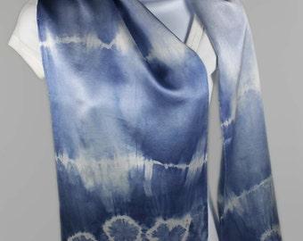 SHIBORI Hand-dyed Silk Scarf in gradient blues & gray