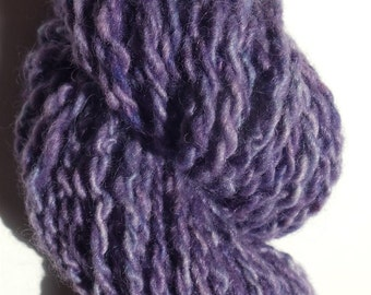 """Yarn Bulky Thick Alpaca and Babydoll Wool 68 Yards  Hand Dyed Two Ply Purple Doll Hair Knitting  Crochet """" Clematis  """""""