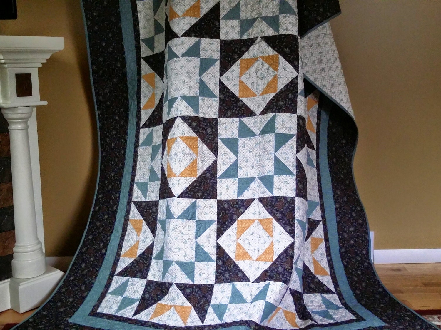 Full Queen Size Quilt Star Pattern Quilt In Black Teal