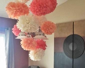 Set of 12 Tissue paper poms, wedding decor, party paper poms. pick your color.