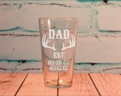 DAD Est. Glass 16 ounce Engraved Pint Glass Fathers Day Gift - Antler Hunting Dad Gift with Kids Birth Dates - Custom Hunting Theme Gift