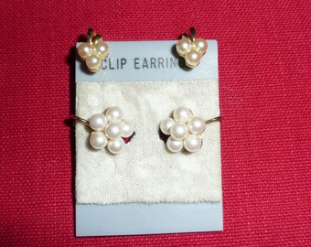 TWO Pairs of Pearl Cluster Clip-On Earrings - Non-Pierced Pearl Earrings - Pearl Cluster Earrings