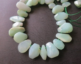 As Pictured- Mint Green Chrysoprase Petal Point beads 6x8x11mm 7x14x19mm -Top Drilled- 39pcs