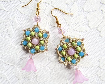Embroidered Earrings Bohemian Dangle Bridesmaid Crochet Flapper Blue Pink Pastel Green Gold Drop Crystal Hippie Flower gift for her