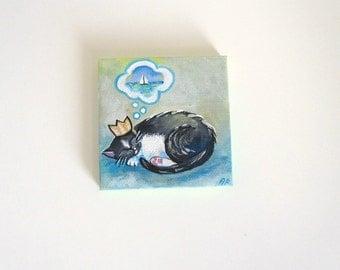 Princess Fiore Dreams- Original Mini Painting- Tuxedo Cat Art 3x3