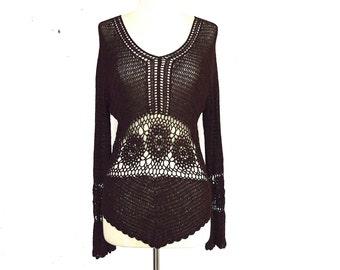90's Crochet Sheer Pattern Sweater Top size - S/M