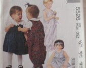 Infant's Jumper and Jumpsuit Sewing Pattern by Laura Ashley - McCall's 5526 -  Sizes S-M-L, Weight 15 - 32 Lbs., Uncut