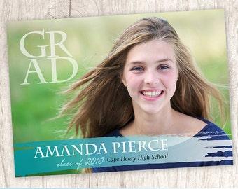 Paintstroke Perfection | custom graduation photo announcement for artist, grad picture announcement for art student - Printable Digital File