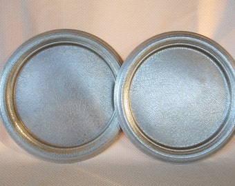 Set of 2 Vintage West Bend Large Aluminum Trays Orange Peel Finish Pebble Texture