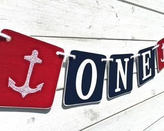 ONE Birthday Banner, Baby Boy Birthday, first birthday, red and blue, Nautical banner, Birthday Boy, First Birthday Party, anchors