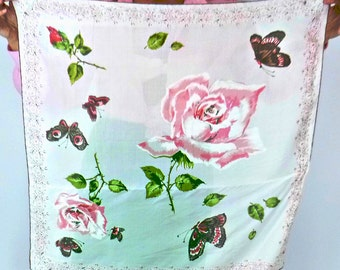 Vintage Semi Sheer Scarf Pink Roses and Butterflies Romantic Sentimental 1950s