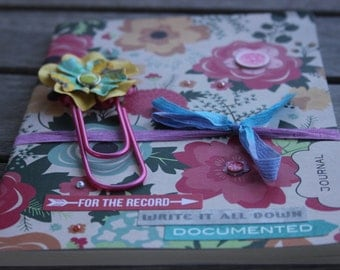 Floral notebook w/paperclip bookmark, Daily Journal; Floral Journal; Paperback Notebook, Writing Journal, Bridal Journal