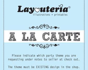 A la Carte Party Single | Party Printable |  | Layouteria