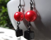 Mod Black Square and Melon Pearl Dangle Earrings