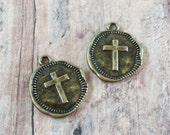 CROSS Bronze Antiqued Gold Hammered Pewter Coin Charms