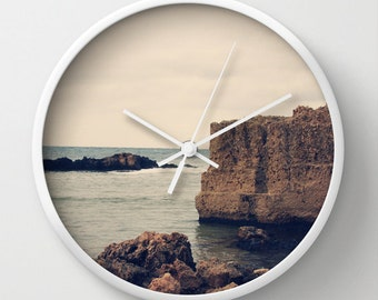 Art Wall Clock Mediterranean 1 Modern photography home decor grey gray Nautical photo Beach House wall art clock navy blue tan ocean sea