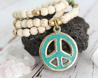 WHITE PEACE sign pendant necklace Tibetan Brass and Turquoise inlaid stone Hippie Gypsy Bohemian statement  Necklace by Inali