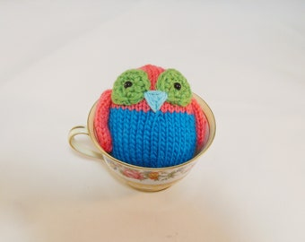 Hand Knit Owl. Pink and Blue Owl. Woodland Plush. Pretend Play. Stuffed Owl. Basket Stuffer. Ready To Ship. Gifts Under 10