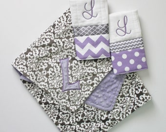 Personalized Gray Damask DOUBLE MINKY Blanket or Lovey - Lavender - PLUS 2 Burp Cloths
