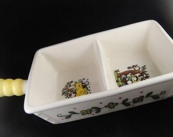 Metlox Poppytrail Happy Time Pattern Divided Dish with Handle