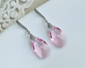 Light Pink Swarovski Crystal Earrings, Pink Rose Crystal Dangle Earrings,Light Pink Swarovski Crystal and Cubic Zirconia Long Dangle Earring