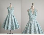 50's Halter Dress // Vintage 1950's Teal White Print Cotton Halter Garden Party Summer Pinup Dress XS