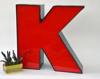Vintage Marquee Sign Letter Capital 'K': Very Large Red & Black Wall Hanging Initial - Industrial Neon Channel Advertising Salvage
