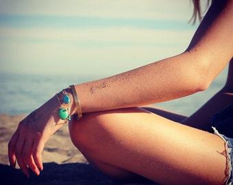Turquoise Bracelet, Gold Bracelet, Stacking Bracelet, Beaded, Beach Jewelry, Layering Bracelet