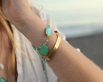 Turquoise Cuff, Gold Cuff, Stacking Bracelet, Beaded, Beach Jewelry, Layering Bracelet, Turquoise Jewelry