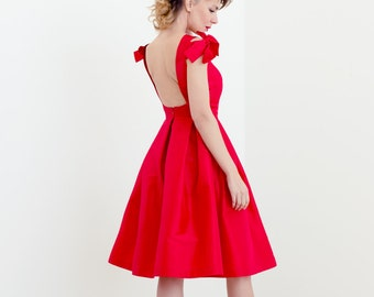 Red silk taffeta open-back cocktail dress // red reception dress // knee length red party dress