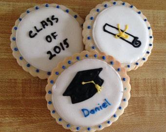 Graduation Cookies - Graduation Hat, certificate sugar cookies - 1 dozen