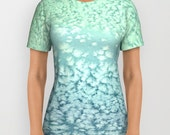 Designer Clothing - Ocean Water Seafoam Painting - Artistic All Over Printed T Shirt