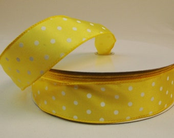 1.5 Inch Yellow White Dots Ribbon,  5 Yards or 10 Yard Lengths Available, Deco Mesh Supplies