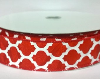 """1.5"""" Red White Satin Wired Ribbon (Quatrefoil Pattern) 5 Yards or 10 Yard Lengths Available, Ribbon for bows, Ribbon for Wreaths"""