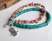 Beaded Bracelet, Magnesite Bracelet, Freshwater Pearls, Turquoise Color and Orange Pearls, Owl Charm, Beaded Jewelry, Etsy, Etsy Jewelry