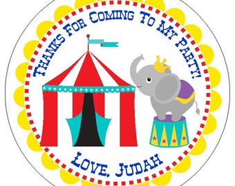 circus birthday labels, carnival birthday party stickers, custom circus party labels, elephant party stickers, 3 sizes available