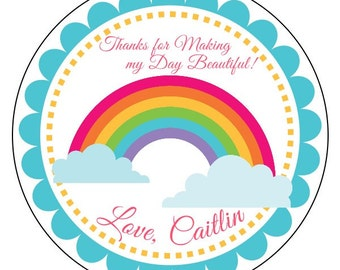 rainbow birthday labels, rainbow party stickers, rainbow birthday sticker labels, custom rainbow birthday stickers, available in 3 sizes