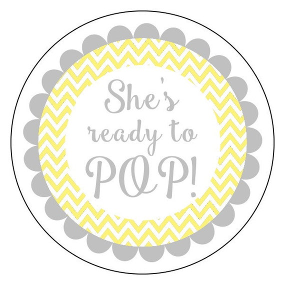 She39s ready to pop stickers yellow and gray chevron ready to pop baby shower stickers she39s for About to pop labels