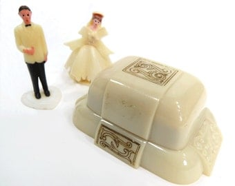 Ivory Celluloid Double Ring Presentation Box - Wedding, Bride, Anniversary