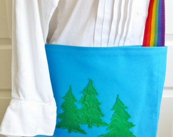 Blue Cotton Tote, Pine Trees, Rainbow