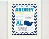 Boy's Whale Birth Announcement Wall Art // Custom Whale Print navy blue teal // Kid's Nursery Print / Baby Gift / Whales 'n Waves